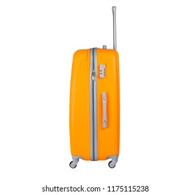 Orange suitcase isolated on white background. Polycarbonate suitcase isolated on white. Orange suitcase.