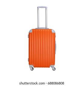 Orange suitcase isolated on white background. Polycarbonate suitcase isolated on white.