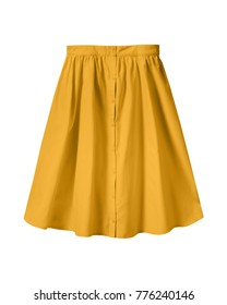 Orange summer skirt with buttons isolated on white