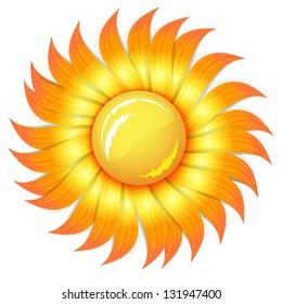 orange summer sun, isolated on white background raster