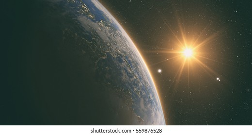 orange Sunrise over earth as seen from space. With stars background. Elements of this image furnished by NASA