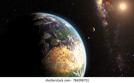 orange Sunrise over earth as seen from space. With moon and stars background. Elements of this image furnished by NASA