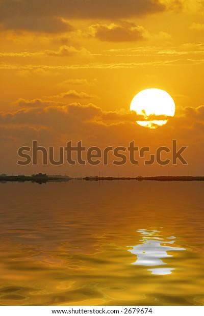 Orange Sunrise Over Ocean