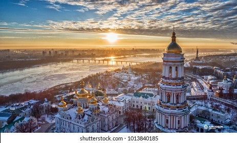 Orange sunset and cloud over cityscape Kiev, Ukraine, Europe