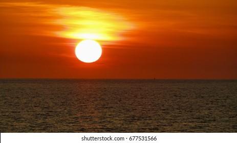 Orange Sunset in Darwin Harbour, Northern Territory, Australia