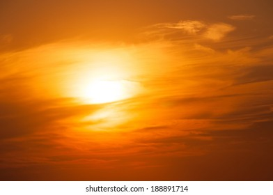Orange Sunset on the sea horizon, skyline
