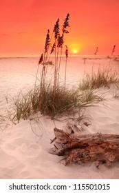 Orange Sunset on White Sand Beach
