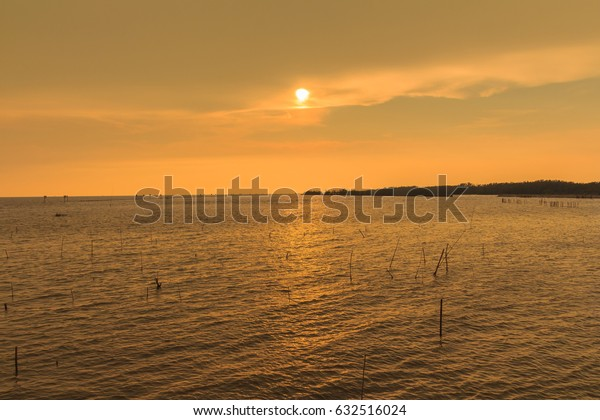 Orange sunset over the sea