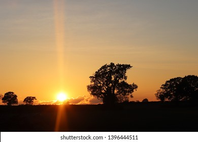 Orange sunset in rural south northamptonshire countryside at Syresham with trees silhouetted against horizon