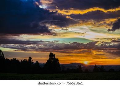 orange sunset skies