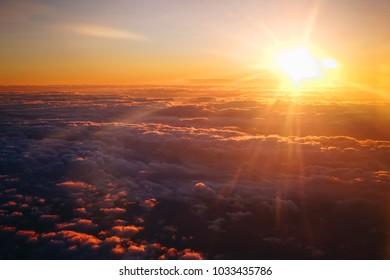 Orange sunset sky background, Sunrise with clouds