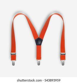 Orange suspenders on a white background