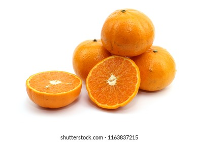 Orange sweet fruit on white background