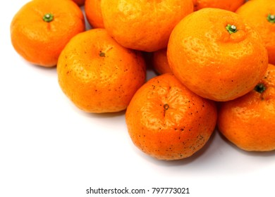 Orange sweet fruit on white background.