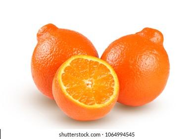 orange tangerine or mandarin with slices isolated on white background