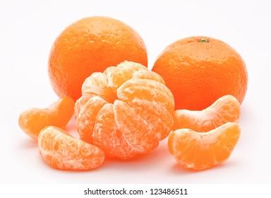 Orange tangerines isolated on a white background