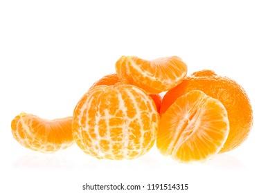 Orange tangerines mandarin isolated on white background.
