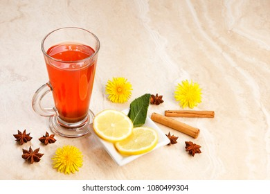 Orange Tea  infusion with blackcurrants ginger, hibiscus, rosehip and spices with dandelions - copy space