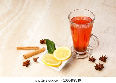 Orange Tea  infusion with blackcurrants ginger, hibiscus, rosehip and spices - with copy space