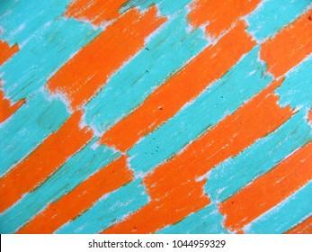 Orange and teal color oil pastel textured background