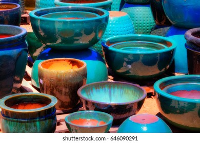Orange and Teal Pots