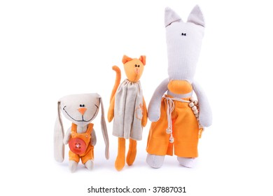 Orange team - group of toy friends isolated