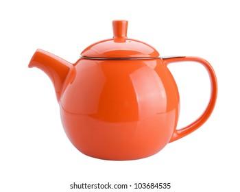 orange teapot isolated on white background