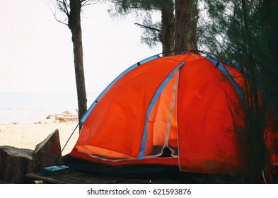 orange tent at beach