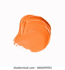 Orange texture stain isolated white background. Abstract art oil paint spot background.