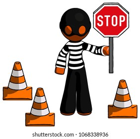 Orange Thief Man holding stop sign by traffic cones under construction concept