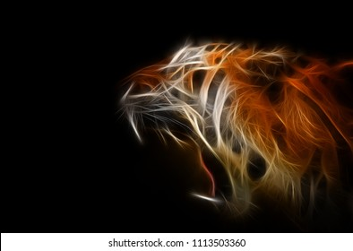Orange tiger with open mouth