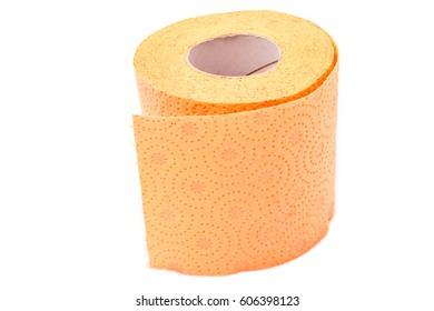 Orange toilet paper isolated on white