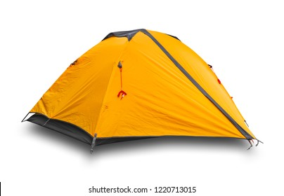 Orange tourist tent isolated on white background