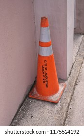 Orange traffic cone (St. Augustine, Florida, USA).
