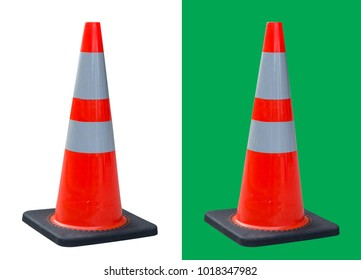 Orange traffic cone white light reflective stripe isolated on white and green background  with clipping path