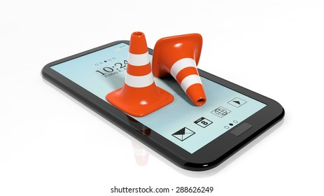 Orange traffic cones on tablet isolated on white background