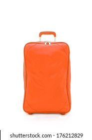 orange travel bag isolated on white background