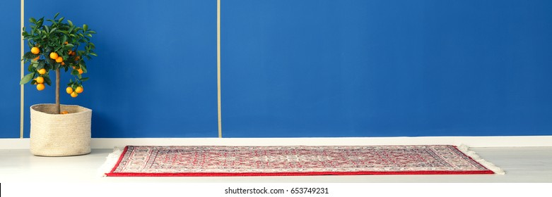 Orange tree standing next to a carpet in blue room