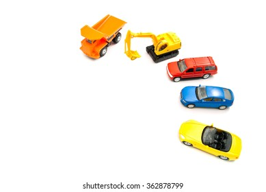 orange truck, backhoe and other cars on white background