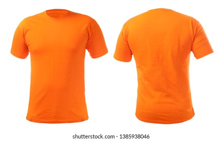 a6203b7d6 Orange t-shirt mock up, front and back view, isolated. Plain orange