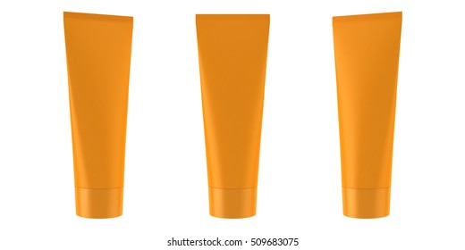 Orange tube for cream model 3D illustration
