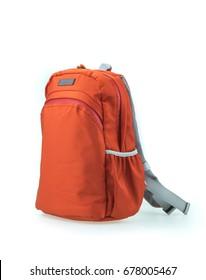 orange unisex backpack isolated on white background