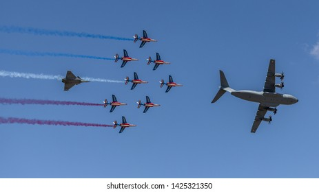 Orange Vaucluse France 05 26 2019 Airbus A400M Patrouille de France and Sabre F86 in the  french sky