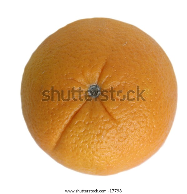 An orange viewed from above isolated on white with clipping path.