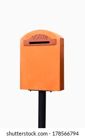Orange vintage mailbox isolated on white background