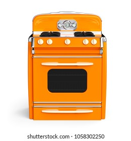 Orange vintage retro stove in front view isolated on white. 3d illustration