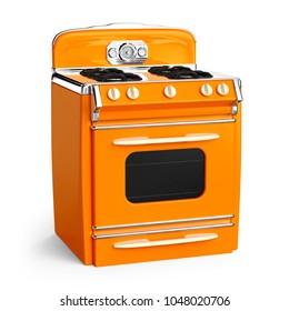 Orange vintage retro stove in isolated on white. 3d illustration