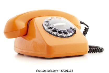 orange vintage telephone isolated on white