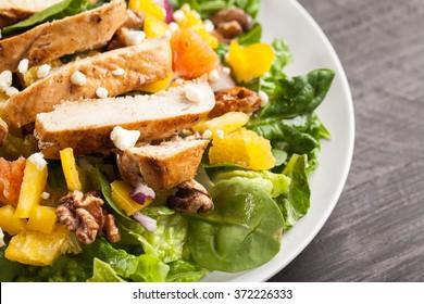 Orange Walnut Chicken Salad macro shot