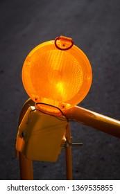 Orange warning light as used on road works